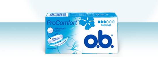 Bilde av forskjellige produkter fra o.b. tamponger. O.b. Original og o.b. ProComfort.