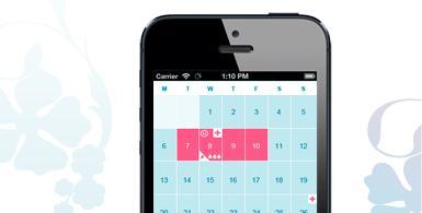 Bilde av en mobiltelefon som har en menstruasjonskalender åpen. Bildet viser, hvordan det kan se ut, om du bruker appen o.b. Menskalender.