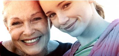 Bilde av to kvinner, en eldre til venstre og en yngre til høyre. Bildet viser o.b.'s historie. Og at vi har hjulpet til å forbedre livskvaliteten for kvinner i mer enn 60 år.